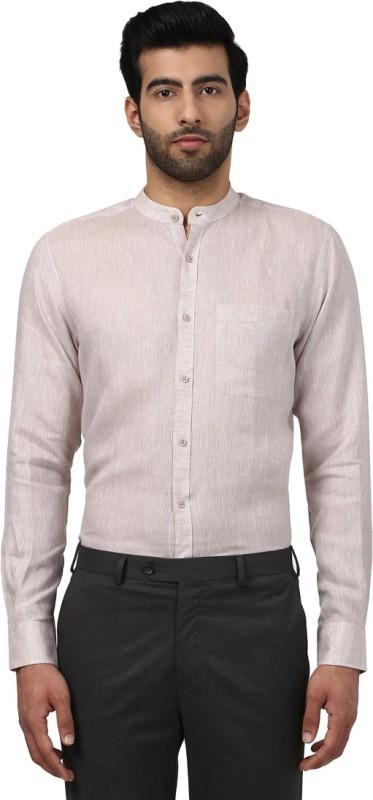 Raymond Men Solid Casual Linen Beige Shirt