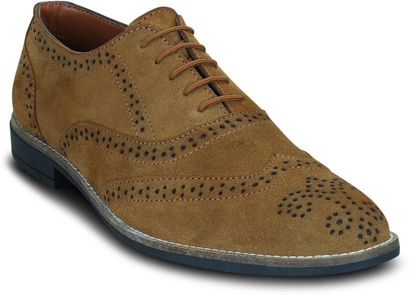 Kielz Kielz-Tan-Mens-Lace-Ups-Brogue-Shoes Brogues For Men(Tan)