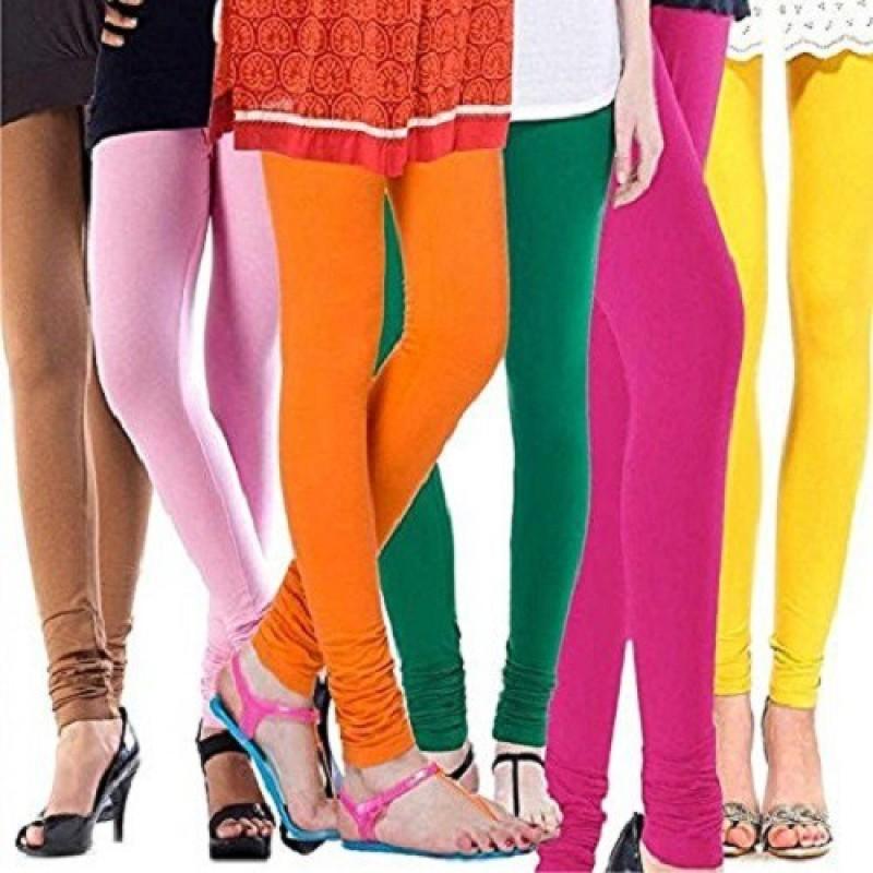 Elegant Shopping Churidar  Legging(Beige, Pink, Orange, Green, Pink, Yellow, Solid)