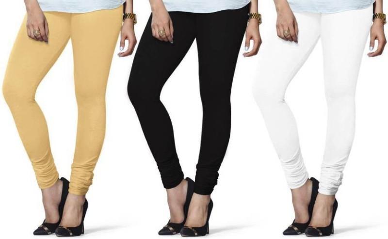 Elegant Shopping Churidar  Legging(Black, White, Beige, Solid)