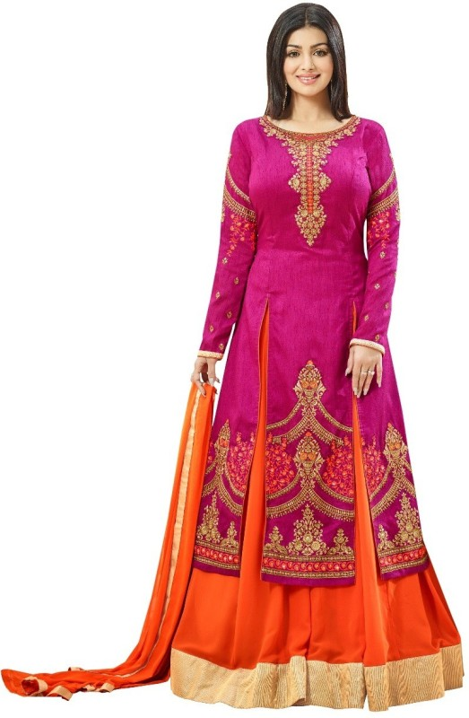 Style Amaze Embroidered Semi Stitched Lehenga Choli(Pink, Orange)