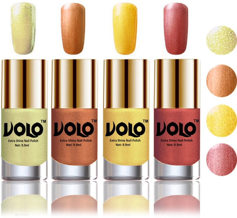 Volo HD Colors High-Shine Long Lasting Non Toxic Professional Nail Polish Set of 4 Hot Lava, Chrome Olive Green, Bronze Magnetic, Gold Chrome(Pack of 4)
