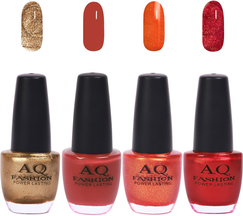 AQ Fashion Funky Vibrant Range of Colors Nail polish Rich Gold,Brisbane Bronze,Sunshine Jari,Shimmer Red(Pack of 4)