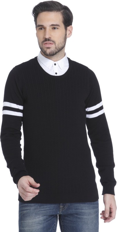 Jack & Jones Striped Round Neck Casual Mens Black Sweater