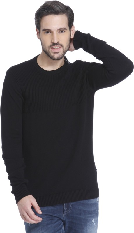 Jack & Jones Solid Round Neck Casual Mens Black Sweater