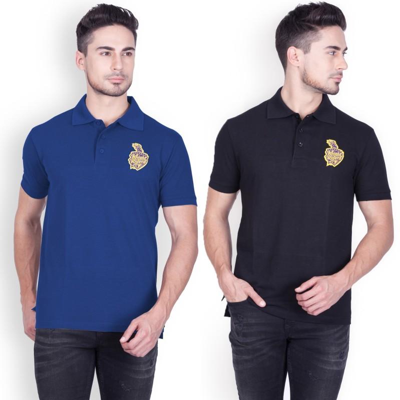 Kolkata Knight Riders Solid Men Polo Neck Dark Blue, Black T-Shirt(Pack of 2)
