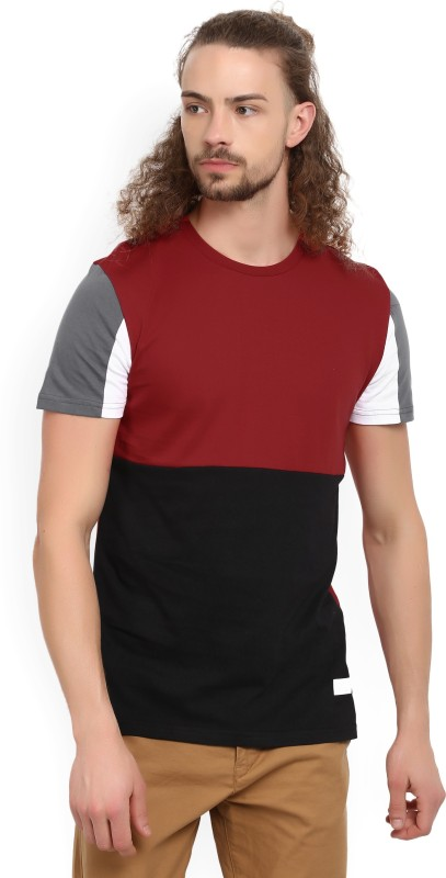 United Colors of Benetton Solid Mens Round Neck Red, Black T-Shirt