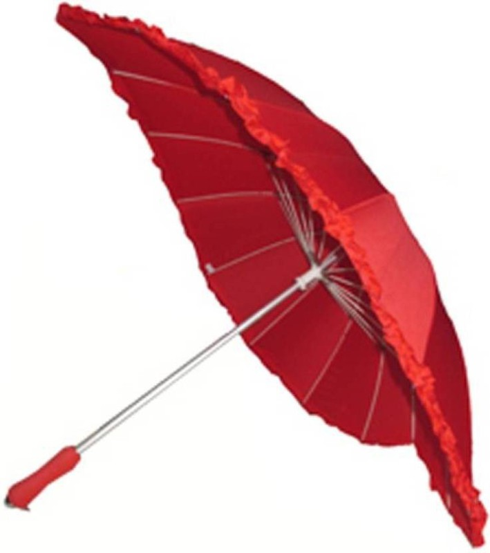ShopyBucket RED HEART SHAPED UMBRELLA BRIDE FLOWER GIRLS PONGEE FIBER PARASOL WEDDING PARTY SUN UMBRELLA Umbrella(Red)