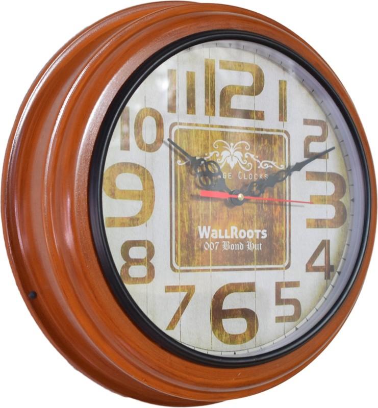 007 Bond Hut Analog Wall Clock(Brown, With Glass)