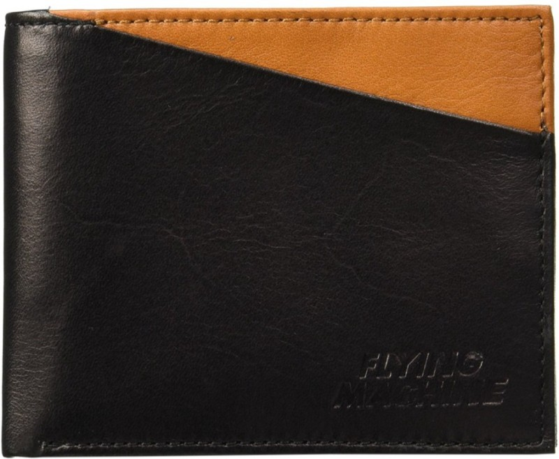 Flying Machine Men Tan, Black Genuine Leather Wallet(4 Card Slots)