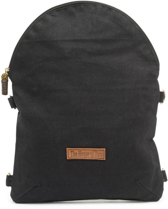 The House of Tara Coated Canvas Crossbody Bag 4 L Backpack(Black)