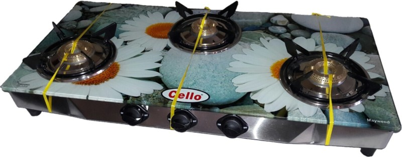 Cello Mayweed Glass, Stainless Steel Manual Gas Stove(3 Burners)
