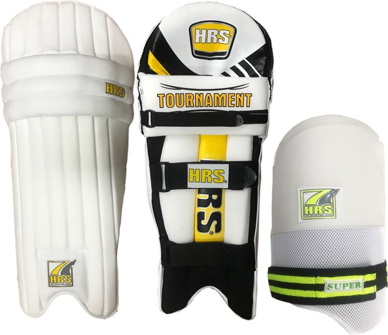 HRS Legguard Thigh Guard Combo - Tournament Batting Legguard, Men's + Super Thigh Guard (White/Green), Men's Cricket Kit