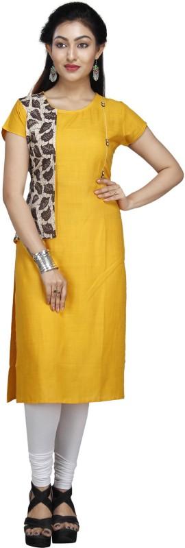 JAI BHOLENATH FASHIONS Festive & Party Embroidered Women Kurti(Yellow)