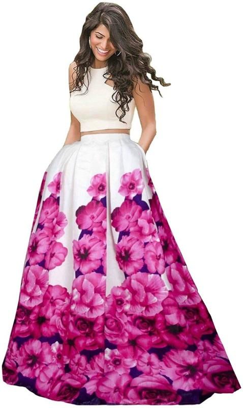 Omstar Fashion Printed Semi Stitched Lehenga Choli(Pink)
