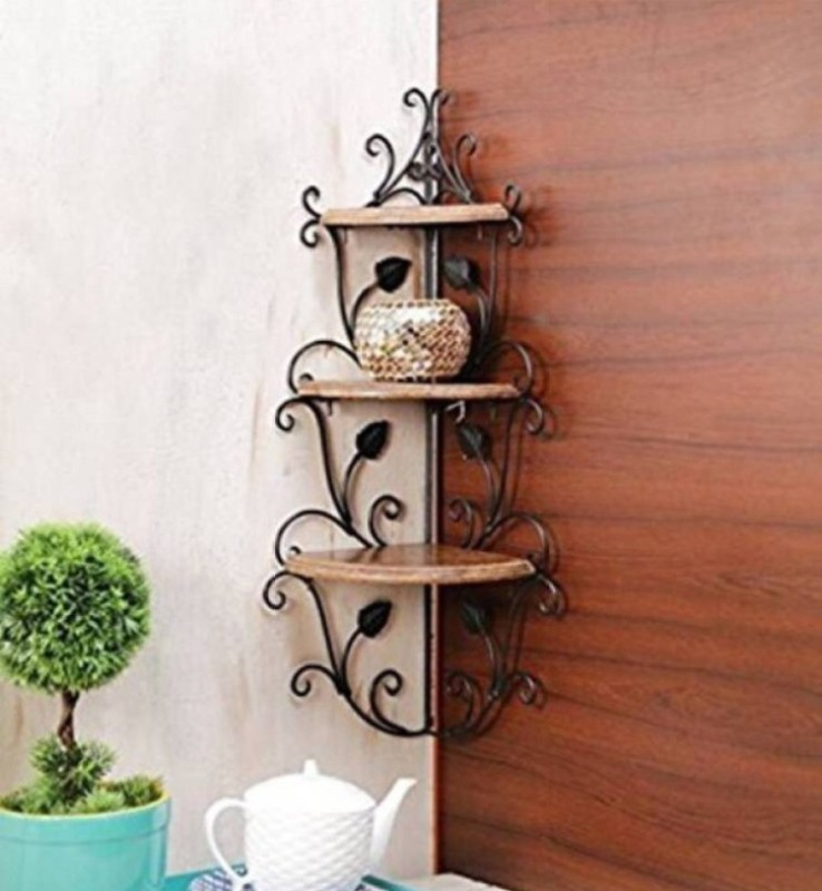 12stars Wall corner Wooden Wall Shelf(Number of Shelves - 3, Brown)