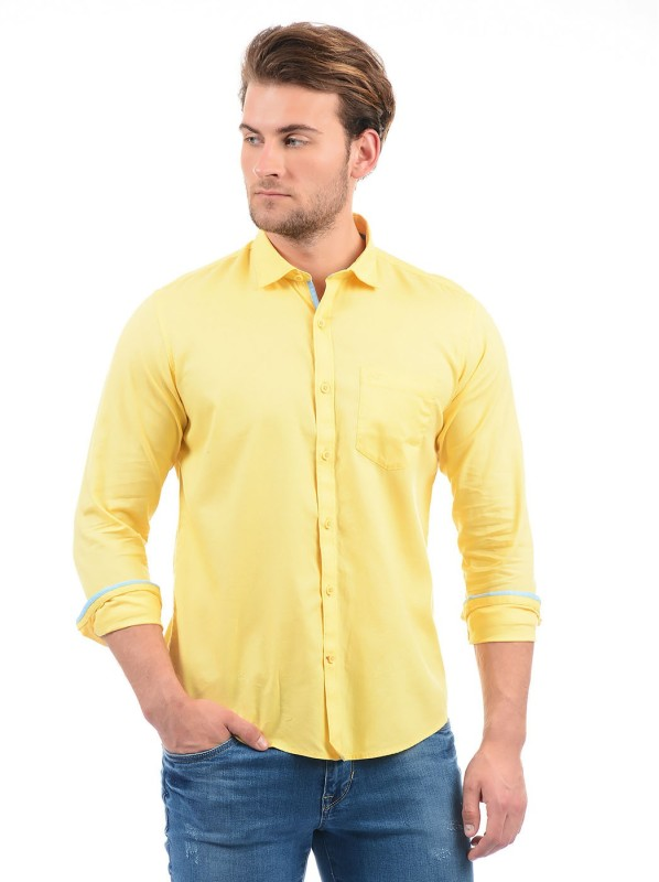 Monte Carlo Men Solid Casual Yellow Shirt