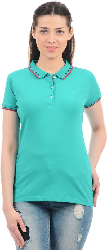 Monte Carlo Solid Women Polo Neck Green T-Shirt