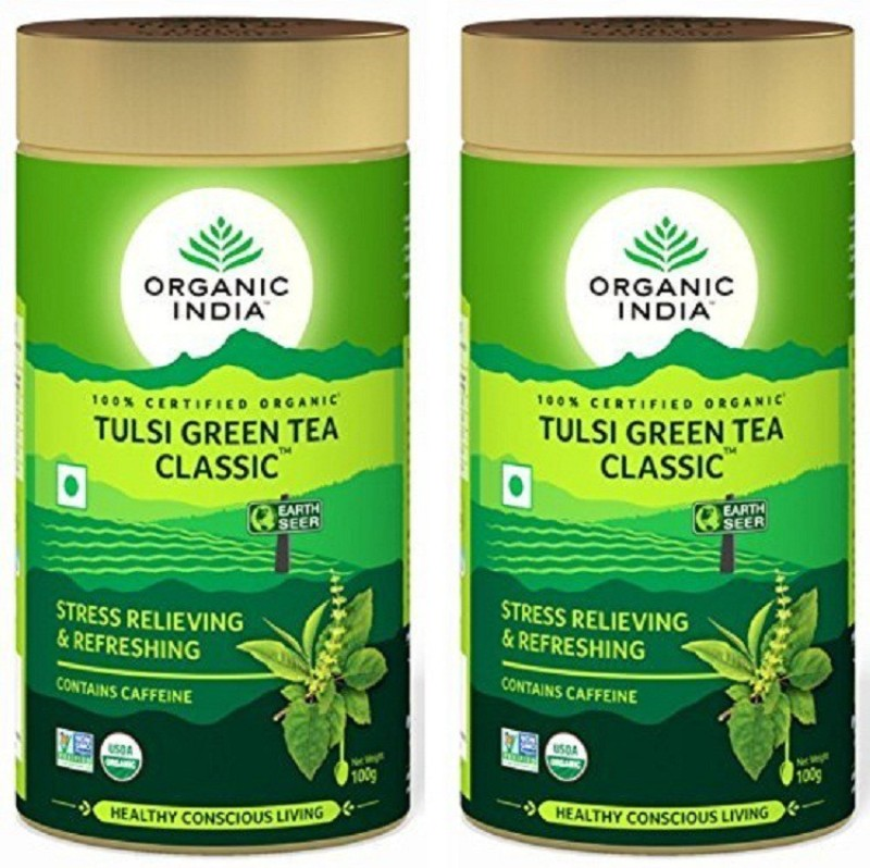 Organic India Tulsi Green Tea Classic 100gm Tin ( Pack of 2 ) Tulsi Green Tea(100 g, Drum)