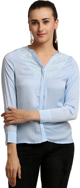 Moda Elementi Casual Full Sleeve Solid Women's Blue Top