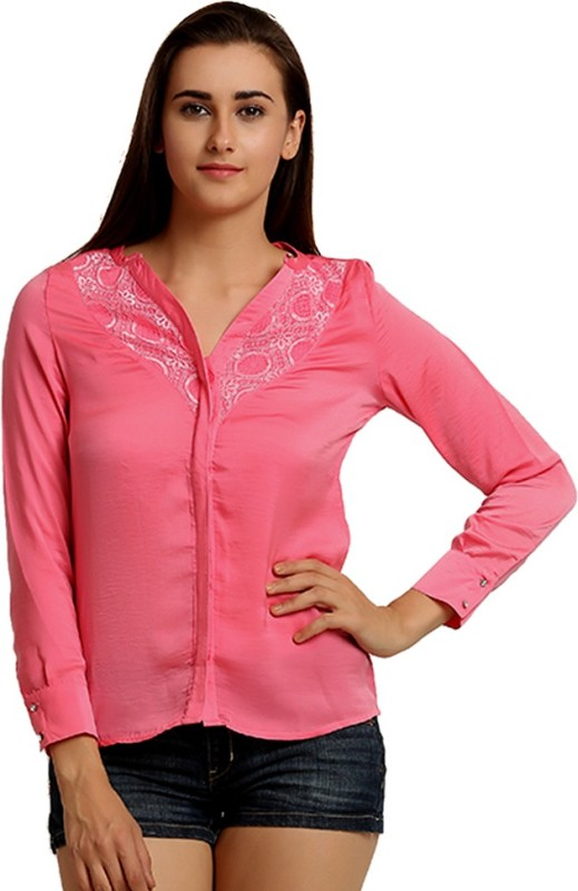 Moda Elementi Casual Full Sleeve Lace Women's Pink Top