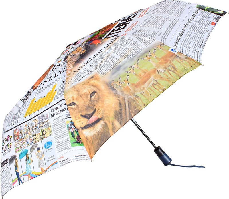 Johns 585mm 3 fold FRP Unisex News Paper Print Umbrella(Multicolor)