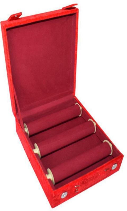 Sarohi 3 Roll Rod Wodden Velvet Bangles Box Box Vanity Box(Maroon)