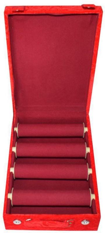 Afrose 4 Roll Rod Wodden Velvet Bangles Box Box Vanity Box(Maroon)