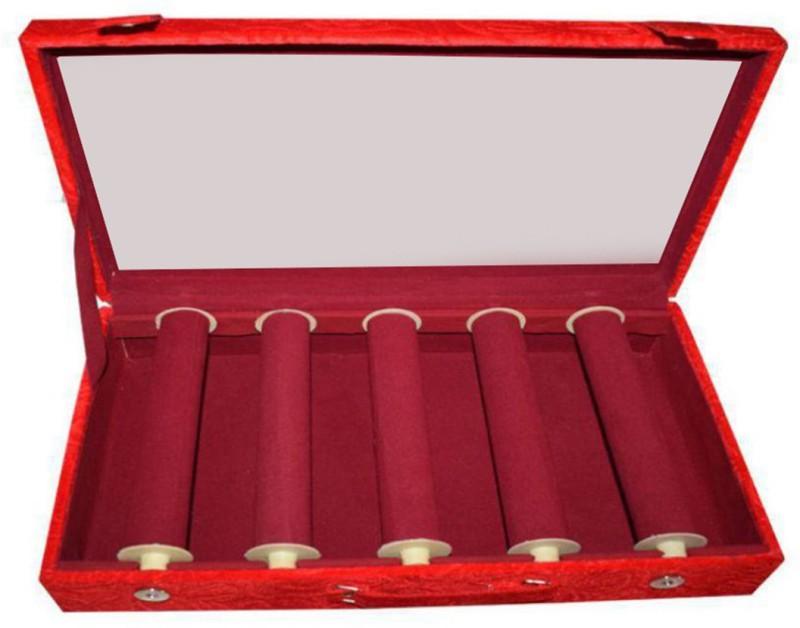 Sarohi 6 Roll Rod Wodden Velvet Bangles Box With Clear Plastic Box Vanity Box(Maroon)
