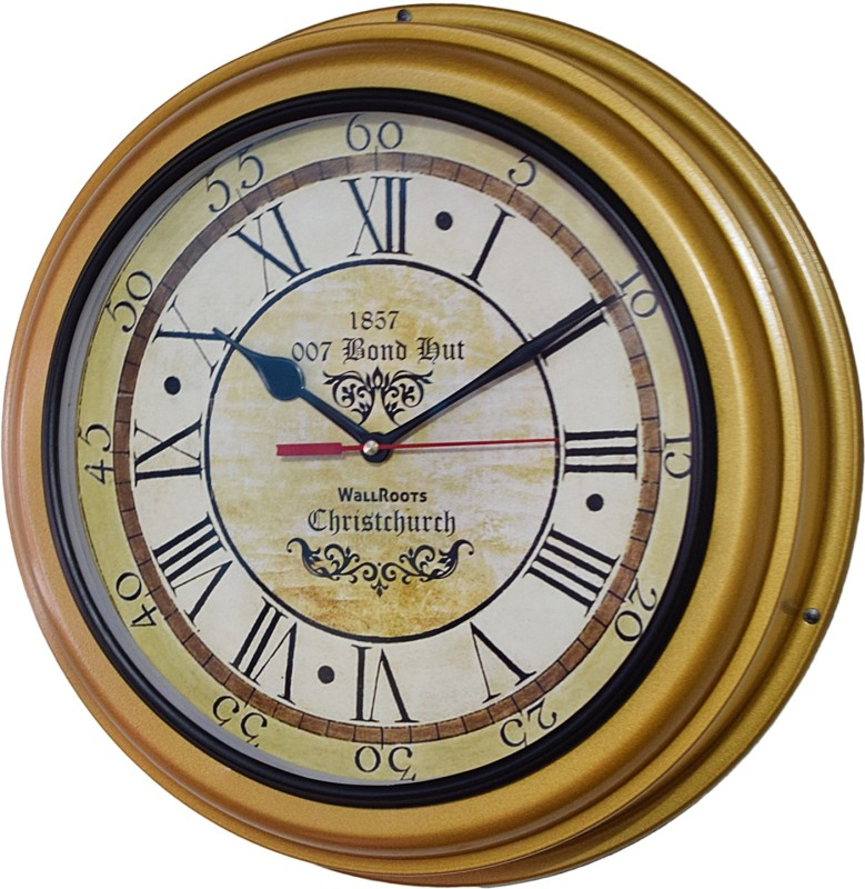 007 Bond Hut Analog Wall Clock(Brass, With Glass)