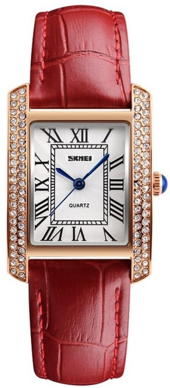 Skmei 1281 Red Gold Stylish Dusk Watch - For Women