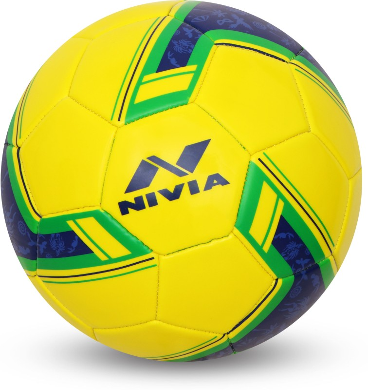 Nivia SPINNER MACHINE STITCHED FOOTBALL (BRASIL) Football - Size: 5(Pack of 1, Yellow)