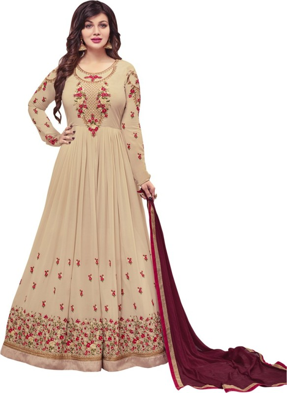 Saara Georgette Embroidered, Embellished Semi-stitched Salwar Suit Dupatta Material