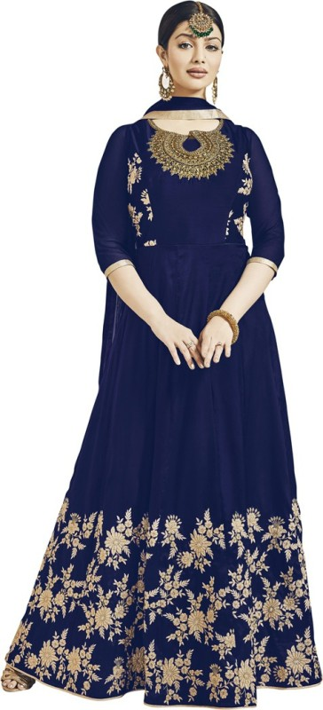 Saara Georgette Solid, Embroidered Semi-stitched Salwar Suit Dupatta Material