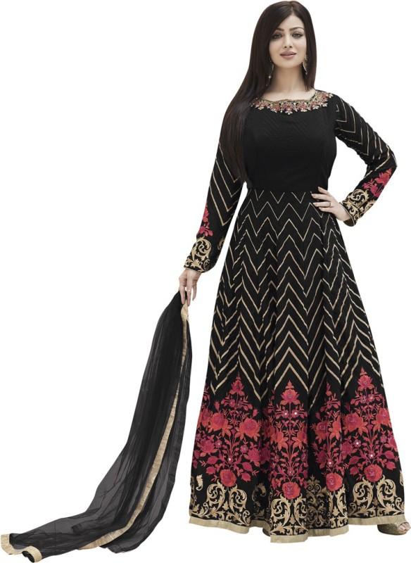 Saara Georgette Embroidered Semi-stitched Salwar Suit Dupatta Material