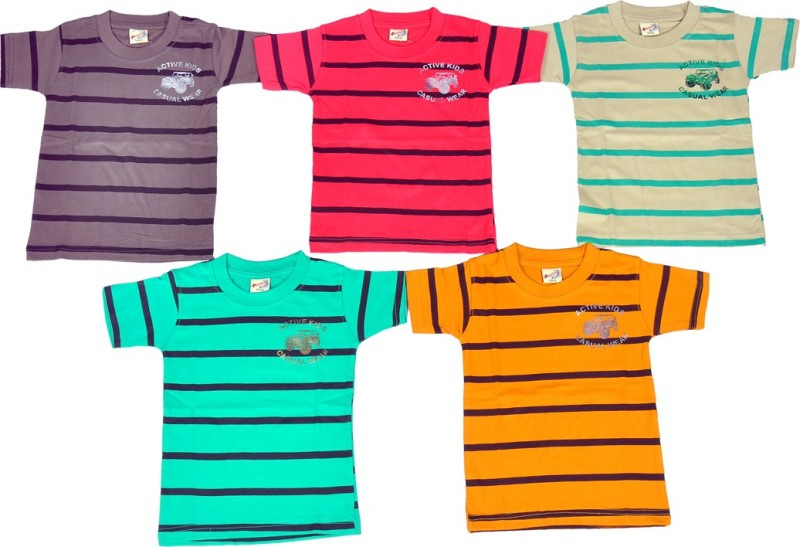 1LY GARMENTS Boys Striped, Graphic Print Cotton T Shirt(Multicolor, Pack of 5)