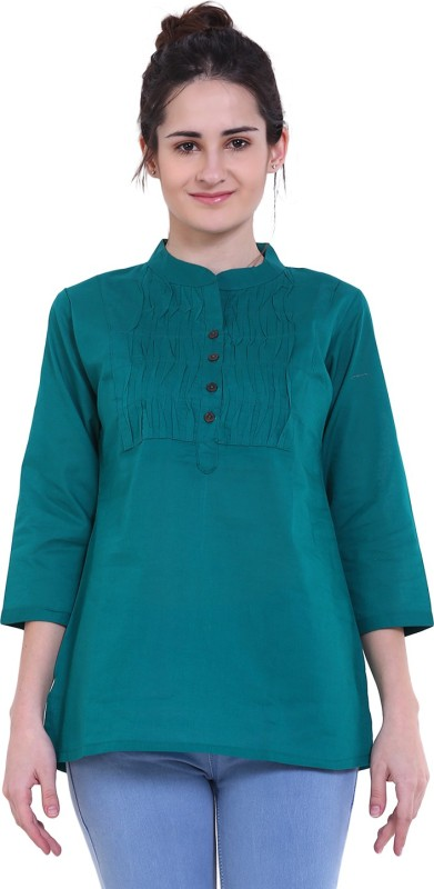Mother Home Casual Solid Women Kurti(Green)