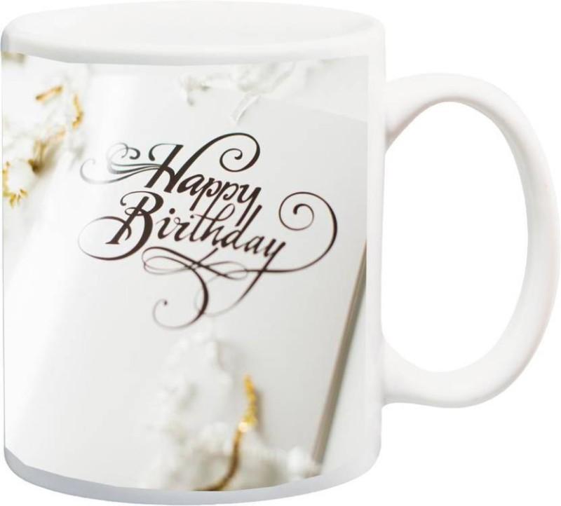 MUGkin Happy Birthday Ceramic Mug(325 ml)
