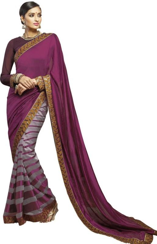Saara Solid, Embroidered Fashion Poly Viscose Chiffon Saree(Purple)