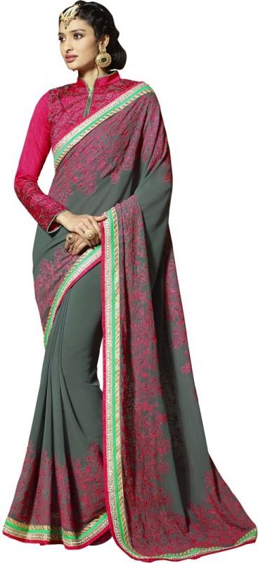 Saara Solid, Embroidered Fashion Pure Viscose Georgette Saree(Grey)
