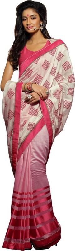 Saara Striped, Printed Fashion Poly Viscose Chiffon Saree(Cream, Pink)