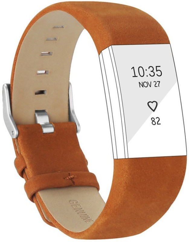 Shopizone Leather Strap For Fitbit Charge 2 Light Brown Smart Band Strap(Brown)
