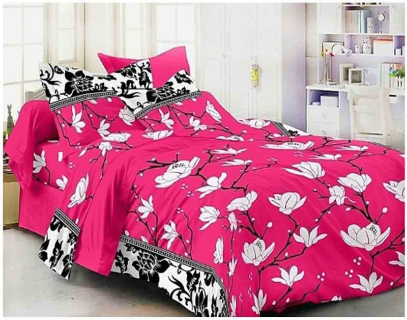 The Intellect Bazaar 160 TC Polyester Double Printed Bedsheet(1 double bedsheet and 2 pillow covers, Pink)