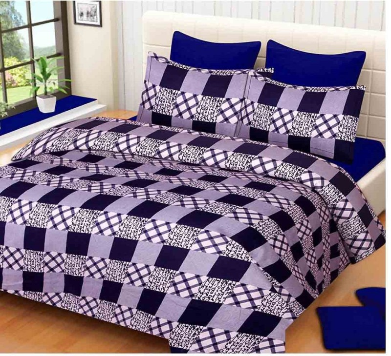 The Intellect Bazaar 160 TC Polyester Double Printed Bedsheet(1 double bedsheet and 2 pillow covers, Blue)
