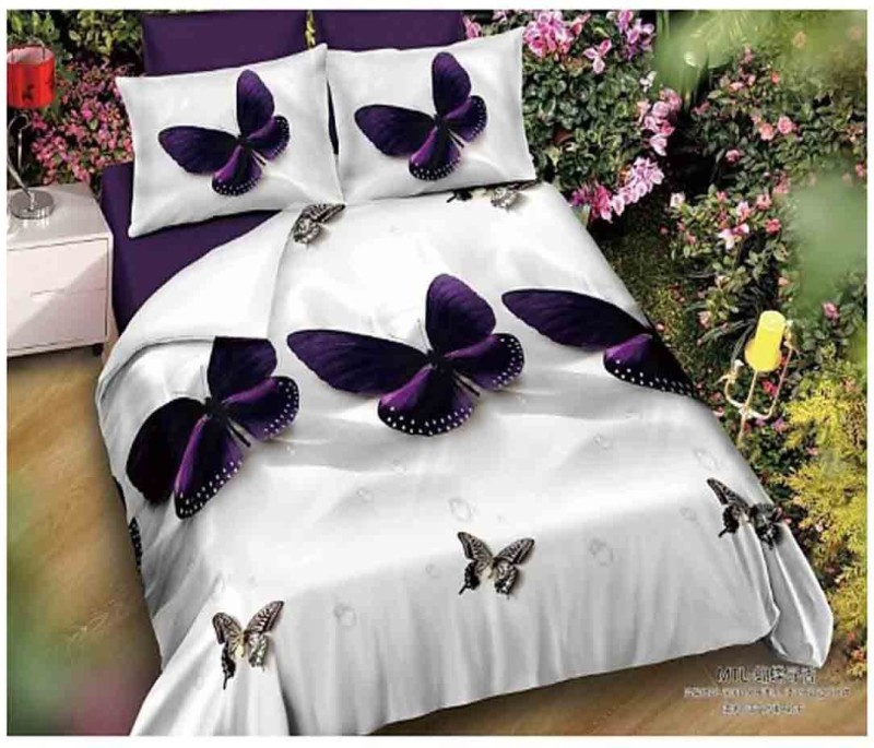The Intellect Bazaar 160 TC Polyester Double Printed Bedsheet(1 double bedsheet and 2 pillow covers, White)