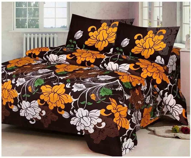 The Intellect Bazaar 160 TC Polyester Double Printed Bedsheet(1 double bedsheet and 2 pillow covers, Brown)