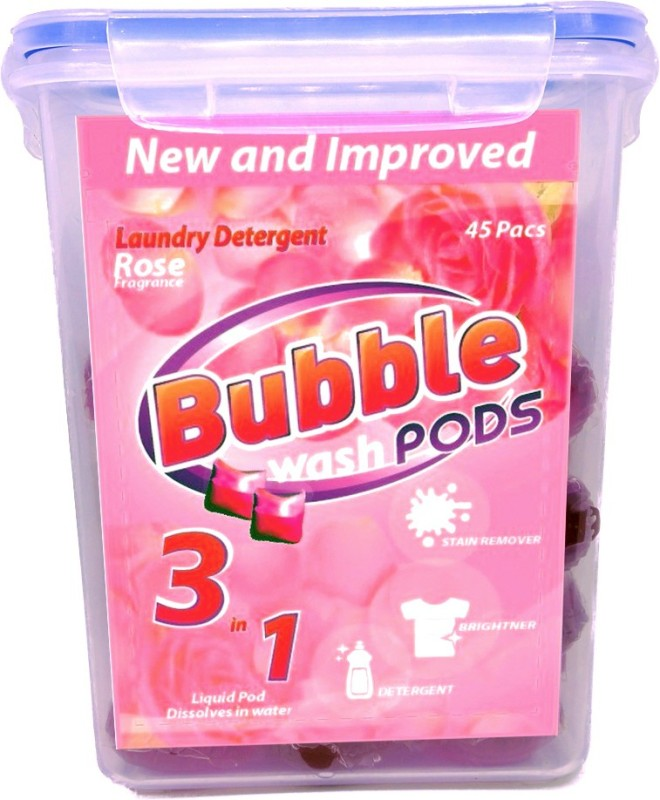 Bubble Washpods Rose Liquid Laundry Detergent HE High Efficiency 45 Loads Container Pack Rose Detergent Pod(45 Pods)