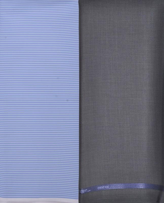 GWALIOR Polycotton Striped Shirt & Trouser Fabric(Semi Stitched)