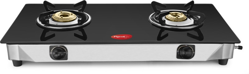 Pigeon Sterling Blackline Two Burner Glass Top Gas Stove Stainless Steel, Glass Manual Gas Stove(2 Burners)