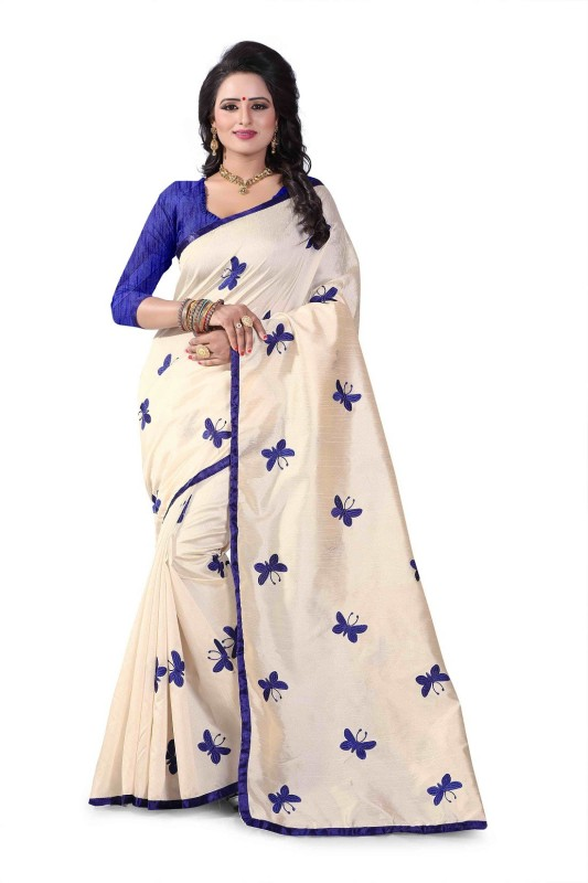SNH Export Embroidered Fashion Cotton Silk Saree(Blue)